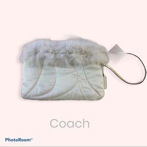 Coach White Rabbit Fur Wristlet